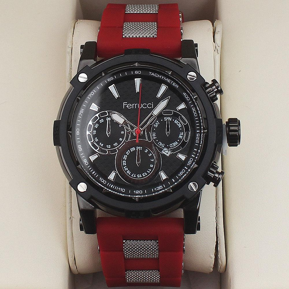 Ferrucci Berry Fashion Watch wt Red Rubber Strap