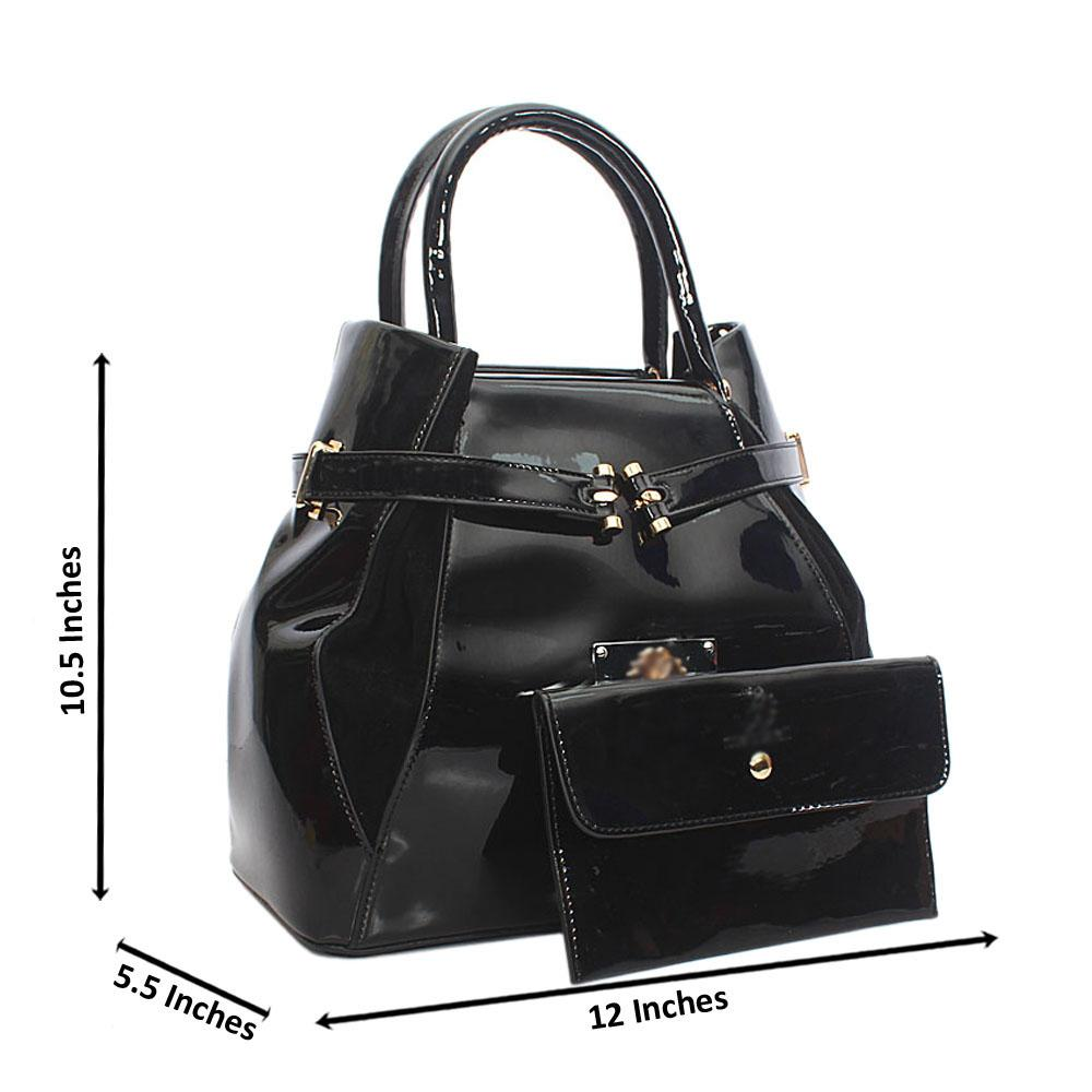 Black Suede Patent Leather Tote Handbag
