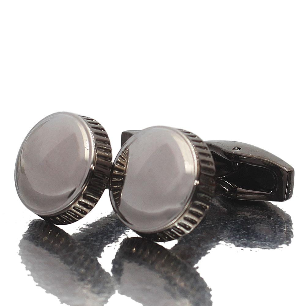 Silver Gray Stainless Steel Cufflinks
