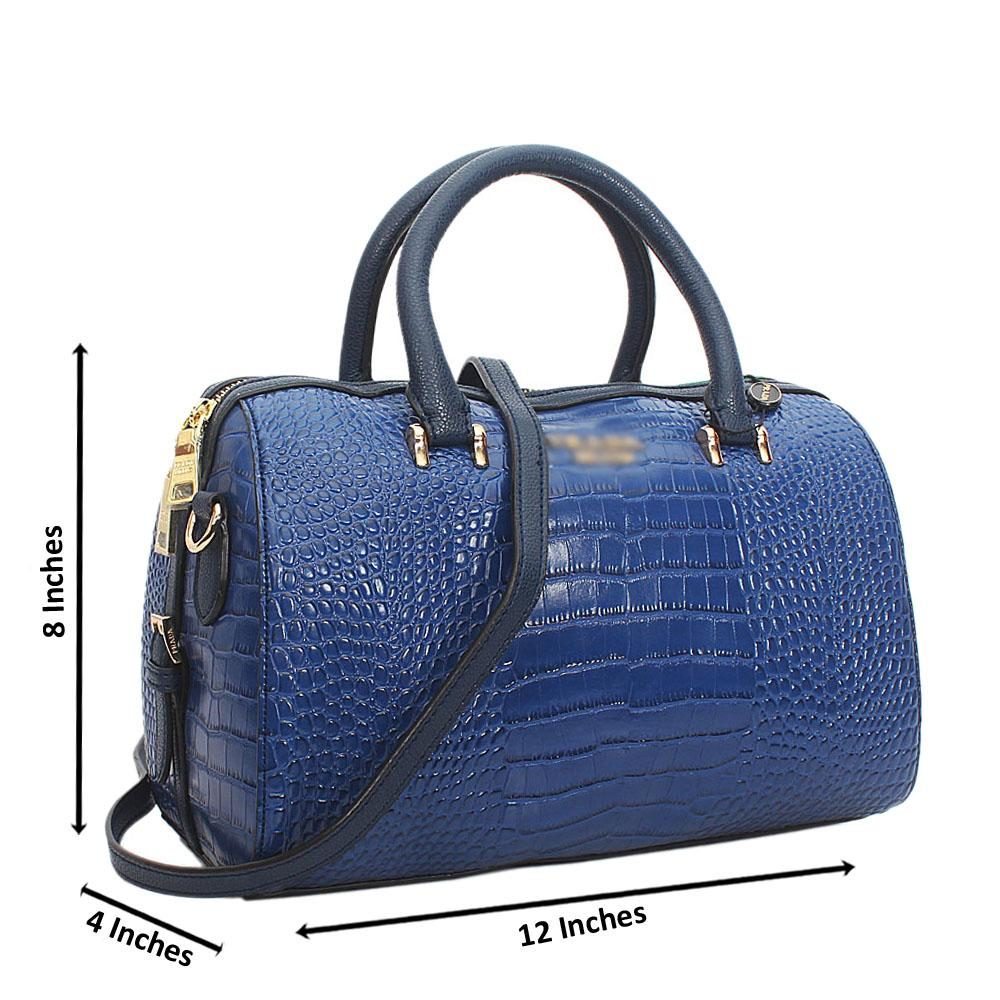 Blue Esplanade Croc Cowhide Leather Tote Handbag