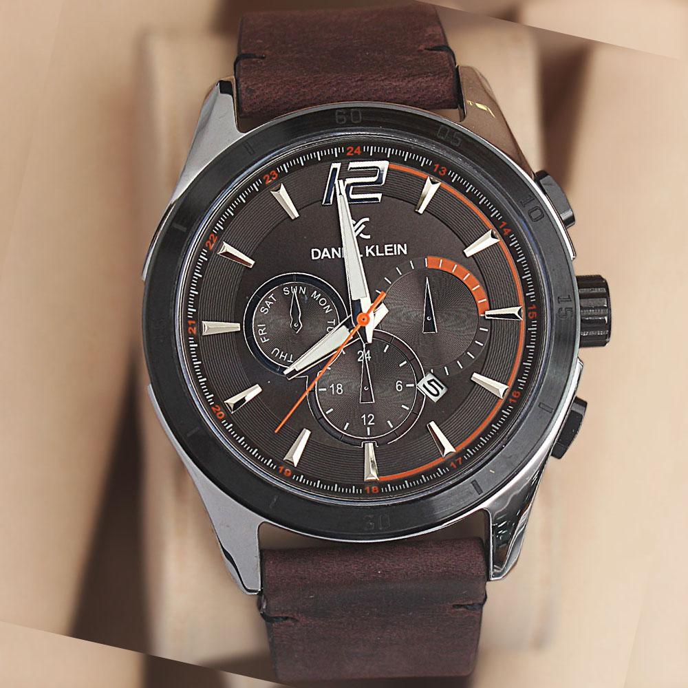 Daniel Klein Arelia Coffee  Leather Watch