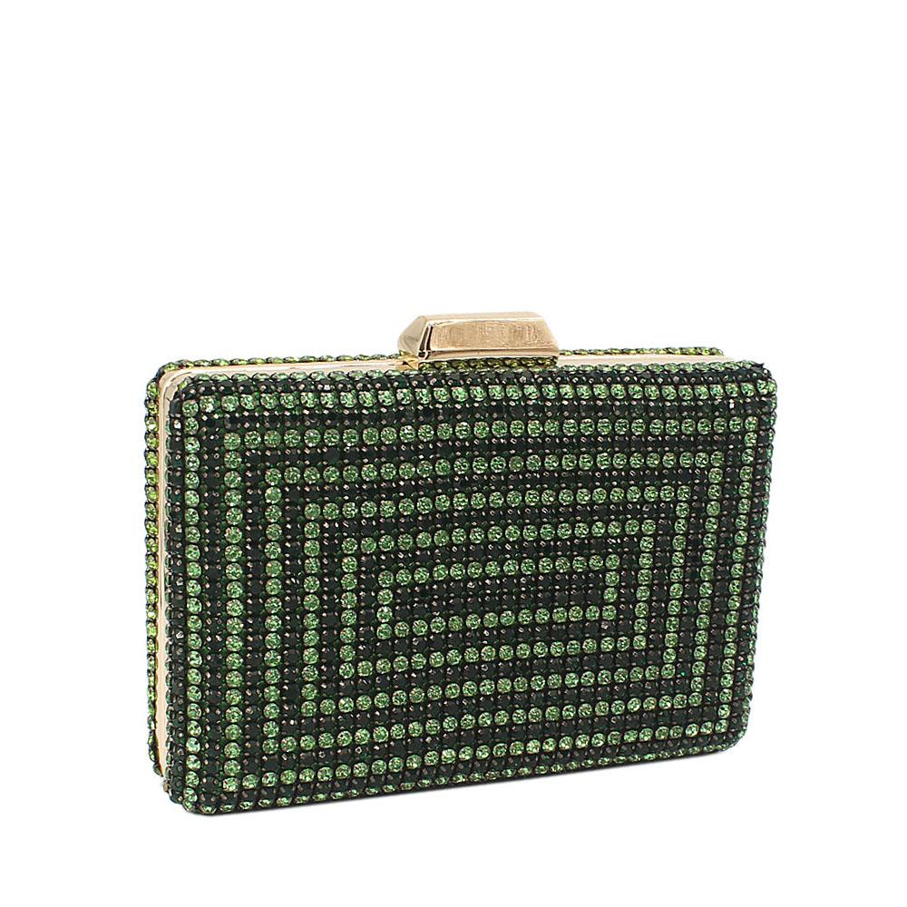 Green Nina Crystals Studded Clutch Purse
