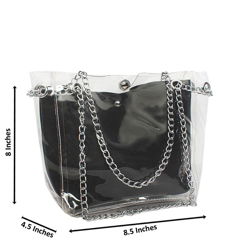 Black Transparent Ice Rubber Leather Small Chain Handbag