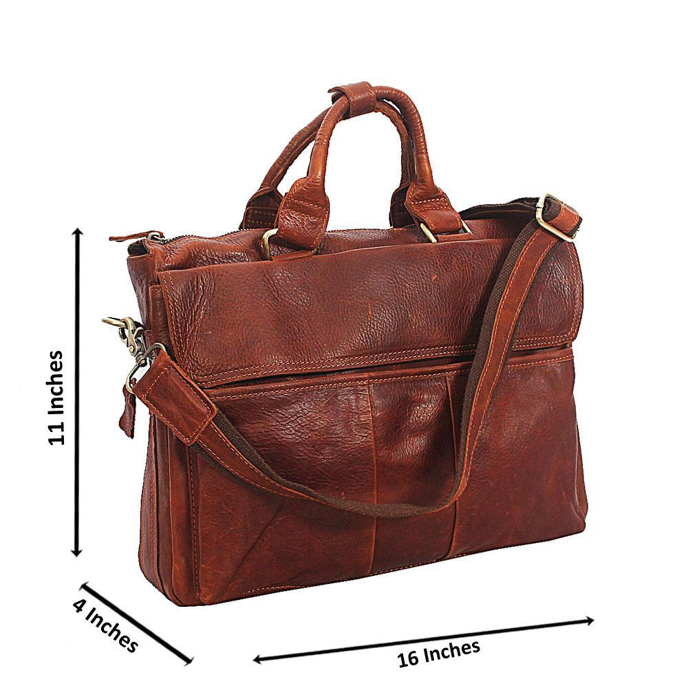 Brown Distressed Cowhide Leather 13 Inch Laptop Briefcase
