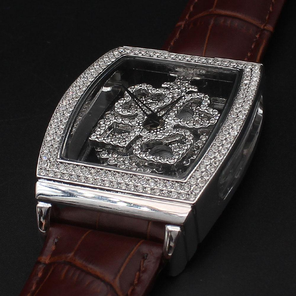 Alois Davinchi Crystals Brown Leather Squared Skeletal Spinner Watch