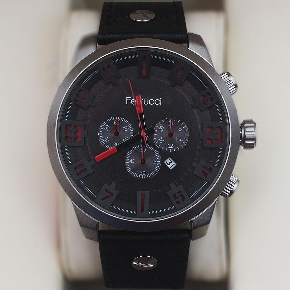 Ferrucci Blue Crossing Fashion Silver Watch wt Leather Strap