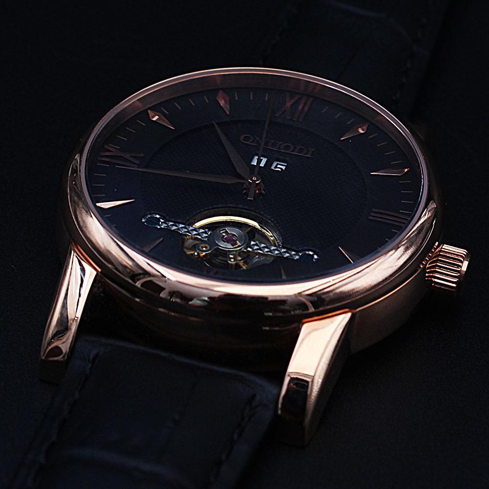 Shanghai Nudi Gold Black Leather Automatic Roman Watch