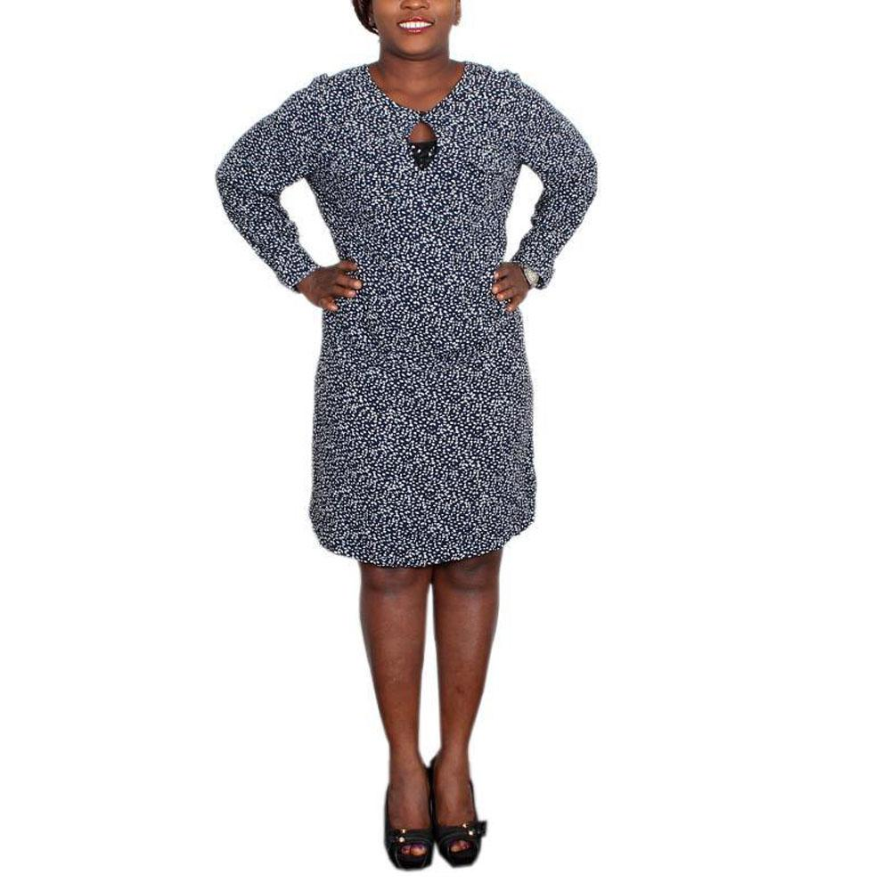 M&S Collection Navy Mix L/S Ladies Dress