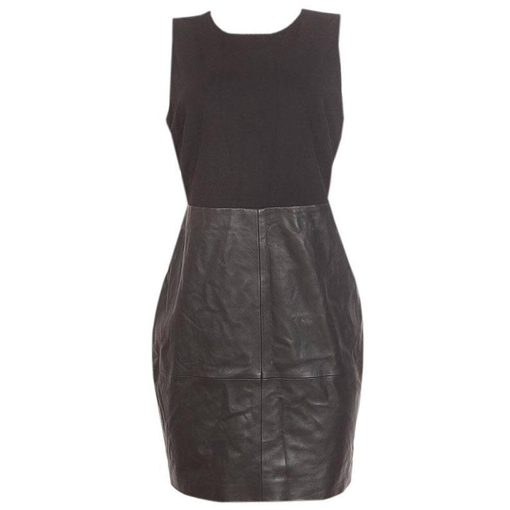 M & S Collection Black Sleeveless Leather Ponte Ladies Mini Dress-Uk 16
