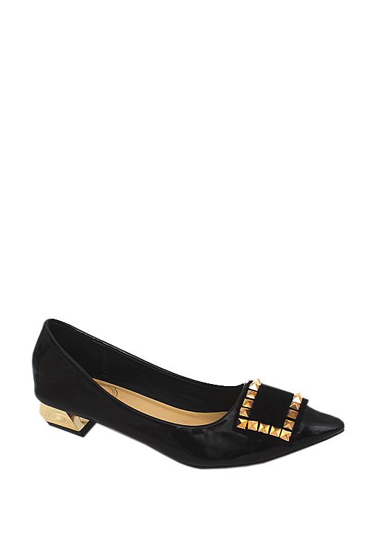 Wangxiannu Black Patent Leather Flat Shoe