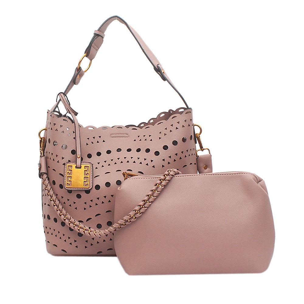 London Style Peach Leather Shoulder Bag Wt Purse