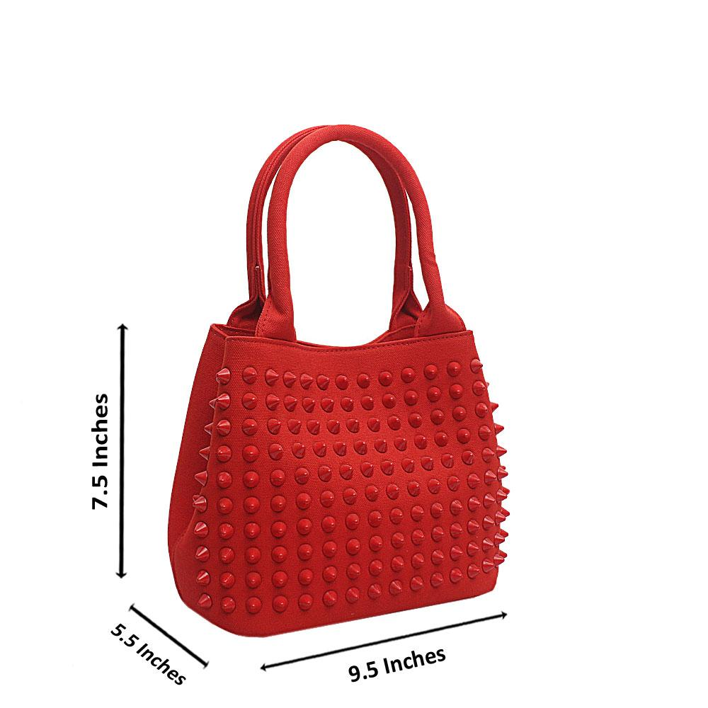 Diavel Red Leather Studded Small Tote Bag