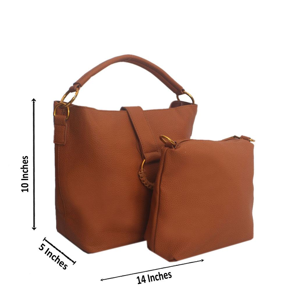 Brown Hook weave Leather Hanbag