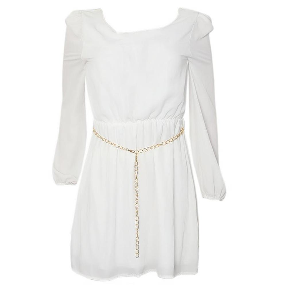 Maite White LongSleeve Chiffon Ladies Dress-Uk 12