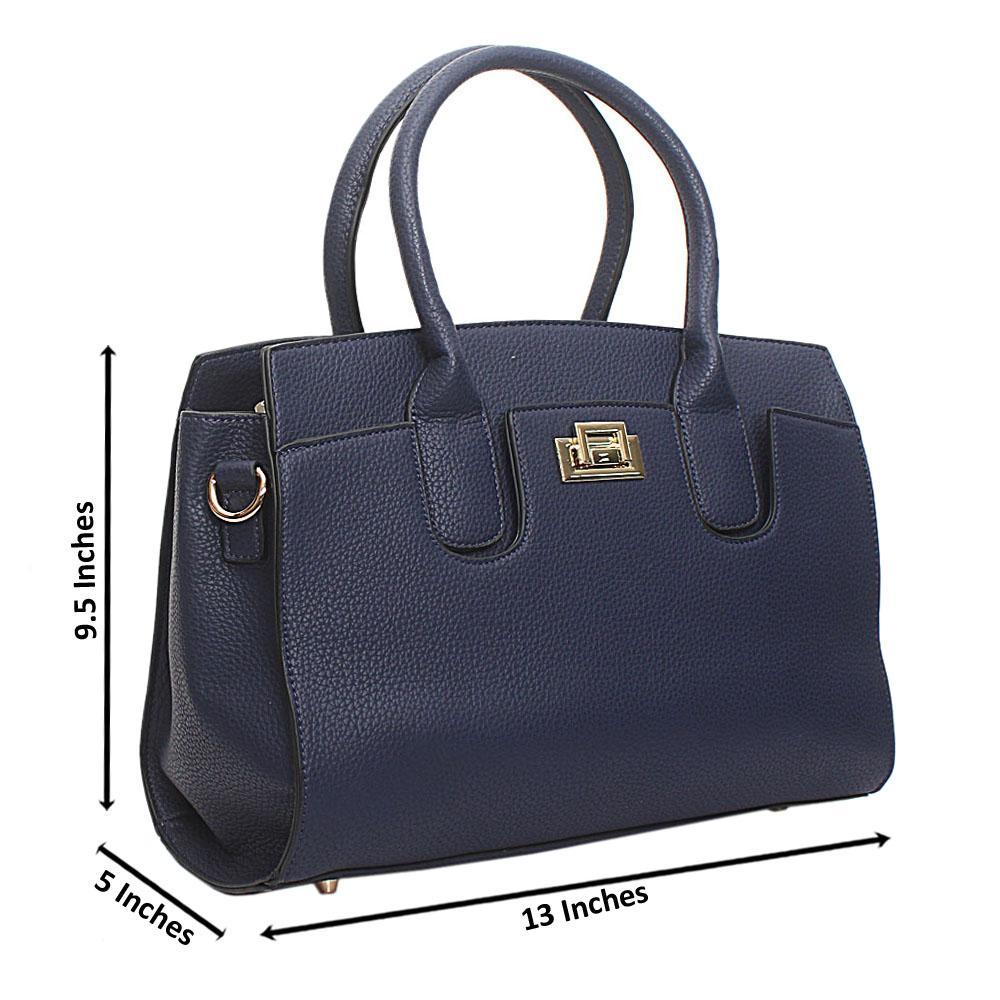 Navy Leather Medium Blossom Handbag