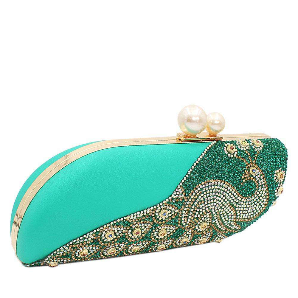 T. Green Nina Crystal Studded Leather Clutch Purse