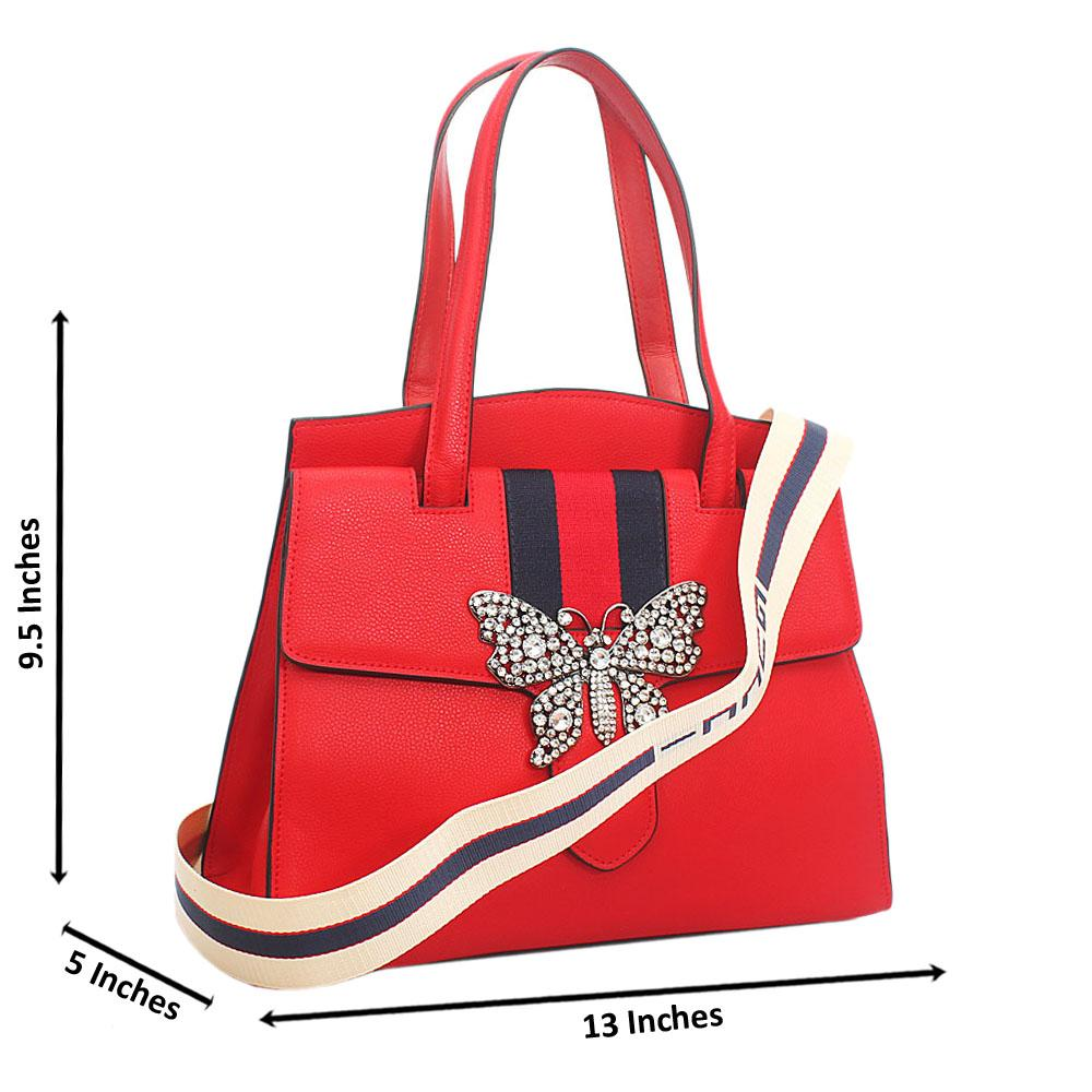Red Butterfly Saffiano Leather Shoulder Handbag