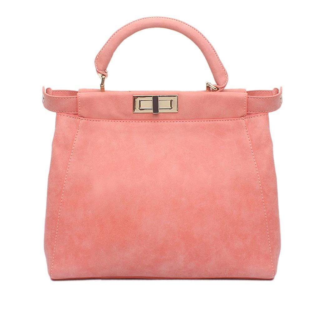 Peach Suede Leather Peekaboo Bag ( Wt Minor Peel )