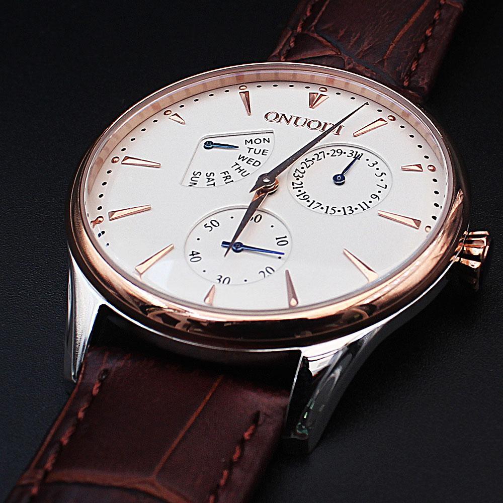 Shanghai Nudi Gold Tone Brown Leather Flat Watch