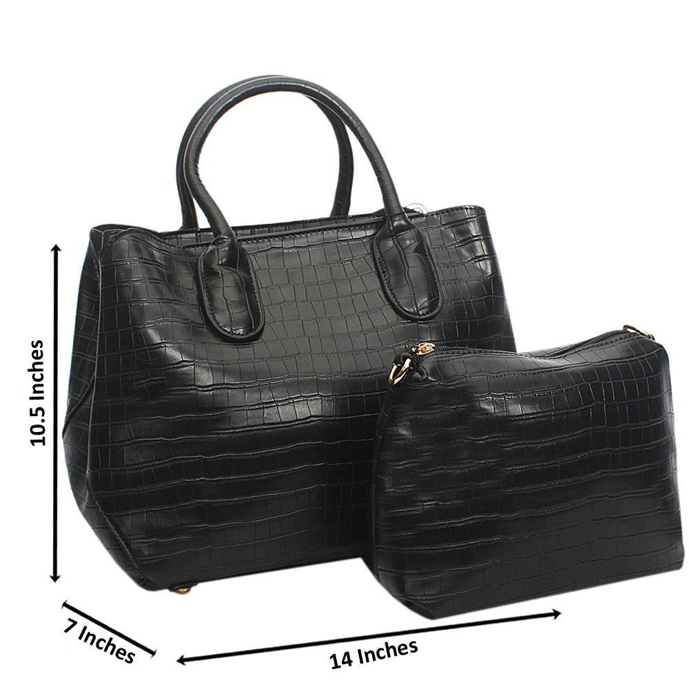 Black Lola Croc Leather Tote Handbag