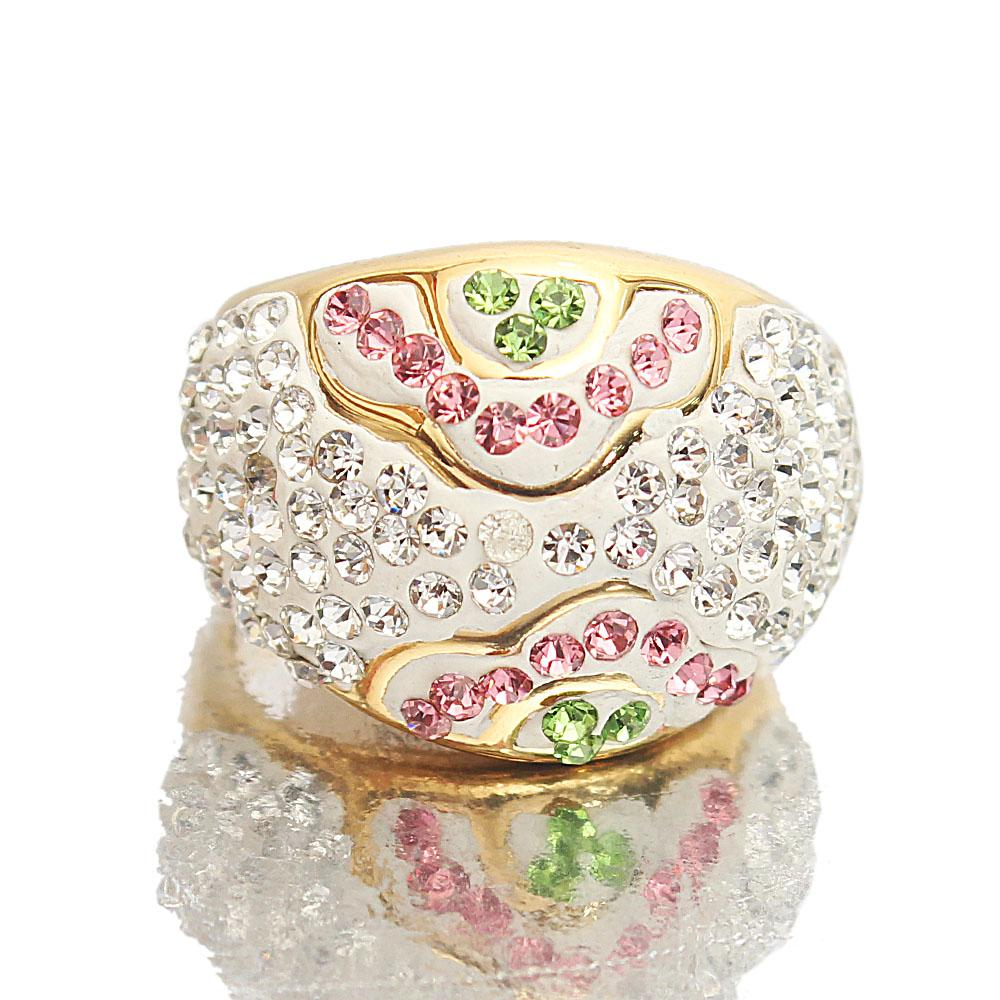 Gold Steel Crystal Studded Ladies Ring