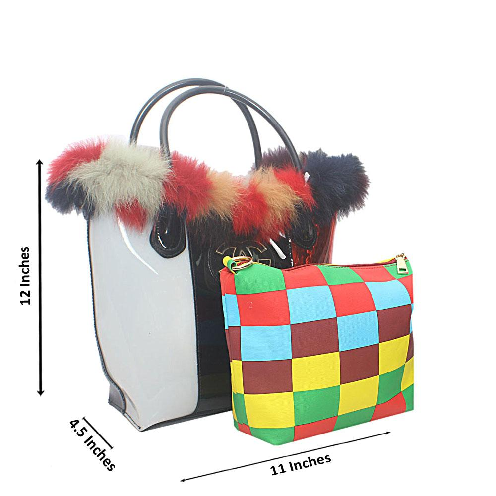 Black White Mix Rubber Clearance Handbag