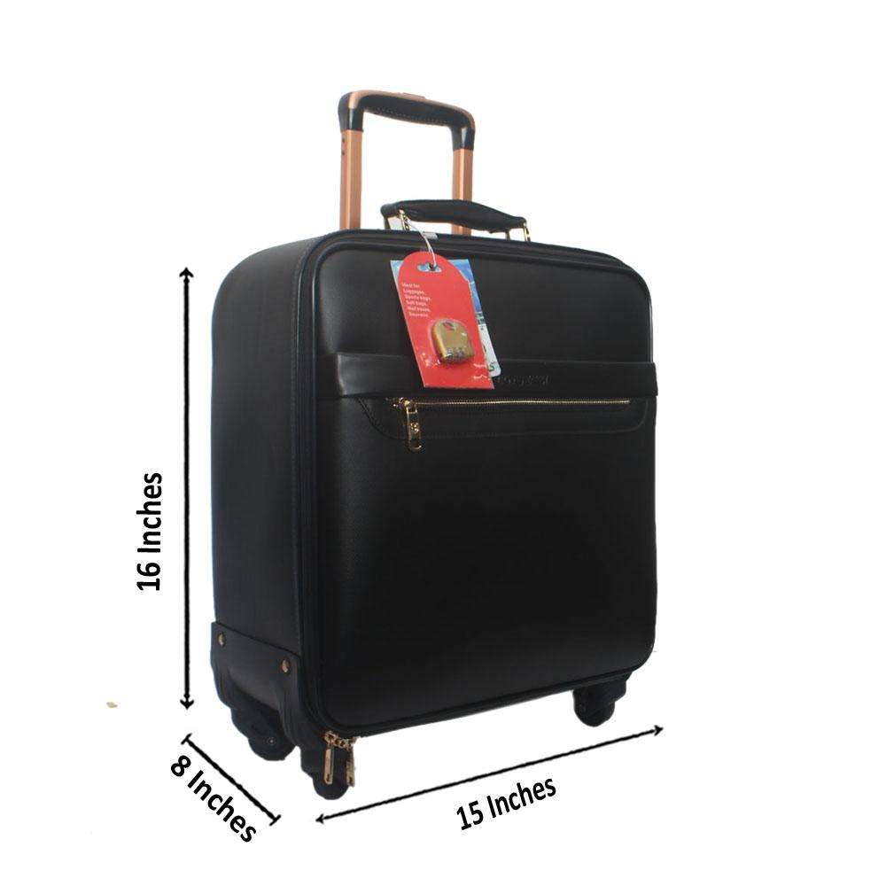 Black Leather Pilot Suitcase Wt Lock