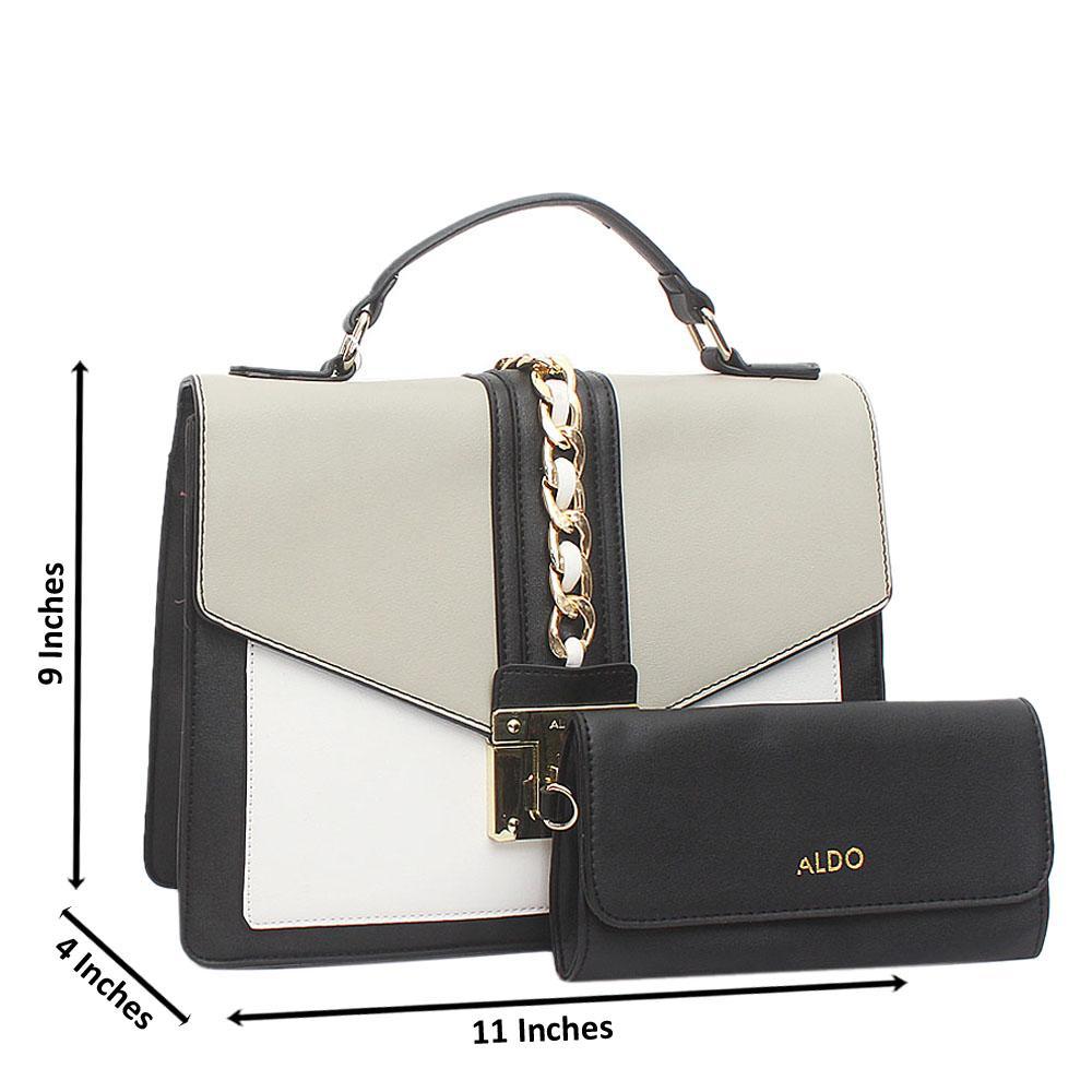 Black Grey White Leather Medium Aldo Bag