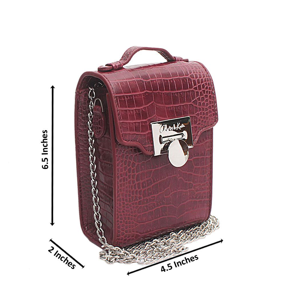 Maroon Croc Leather Mini Bag