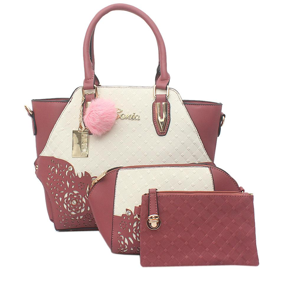 Bonia Dark Pink White Leather 3 in 1 Bag