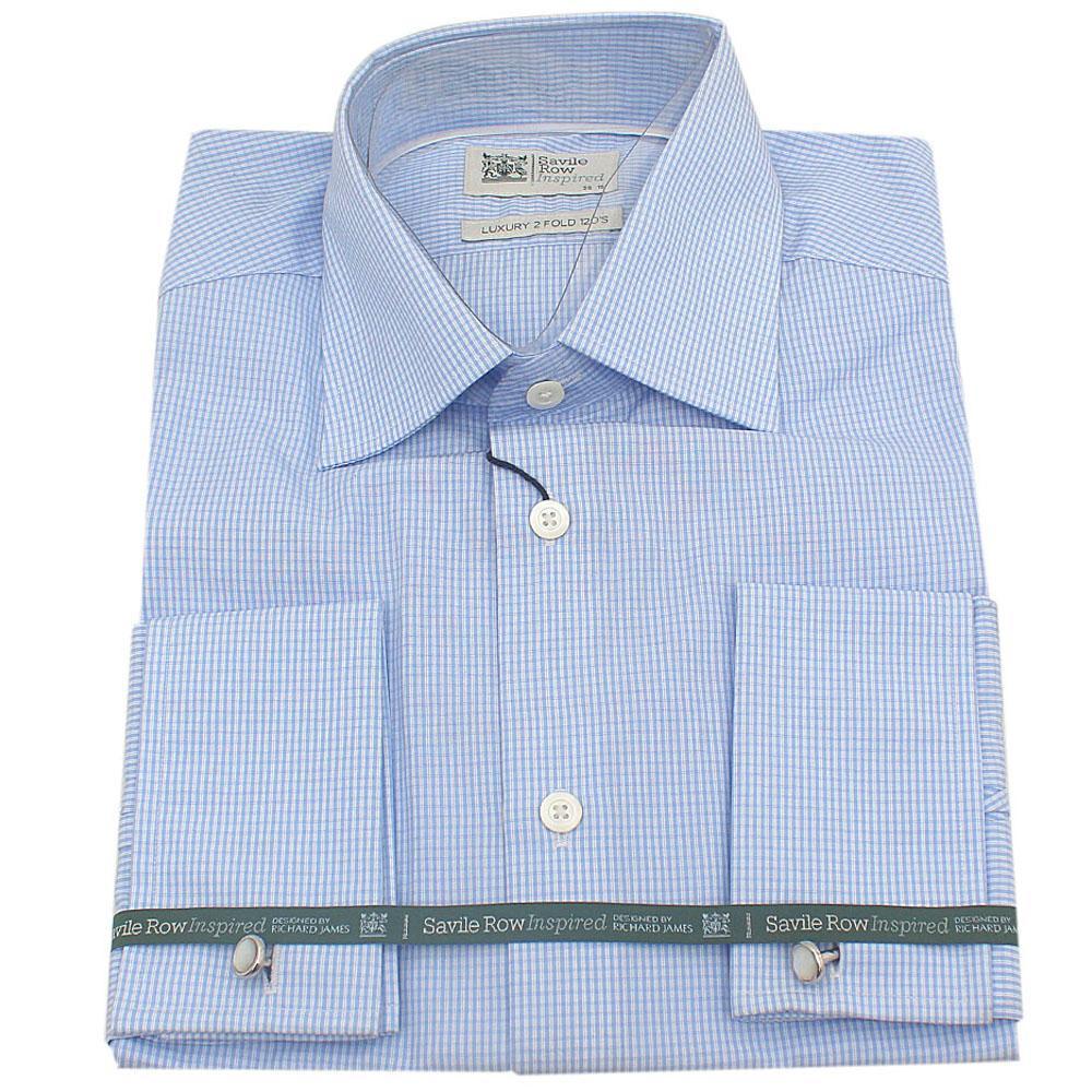 M & S Savile Row Blue Cotton Men's L/Sleeve Tailored Fit Shirt-15.5