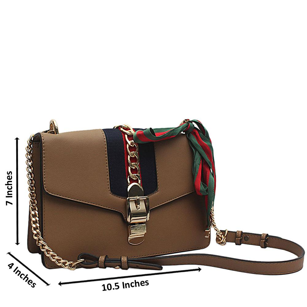 Astandard Khaki - Brown Leather Cross body Bag