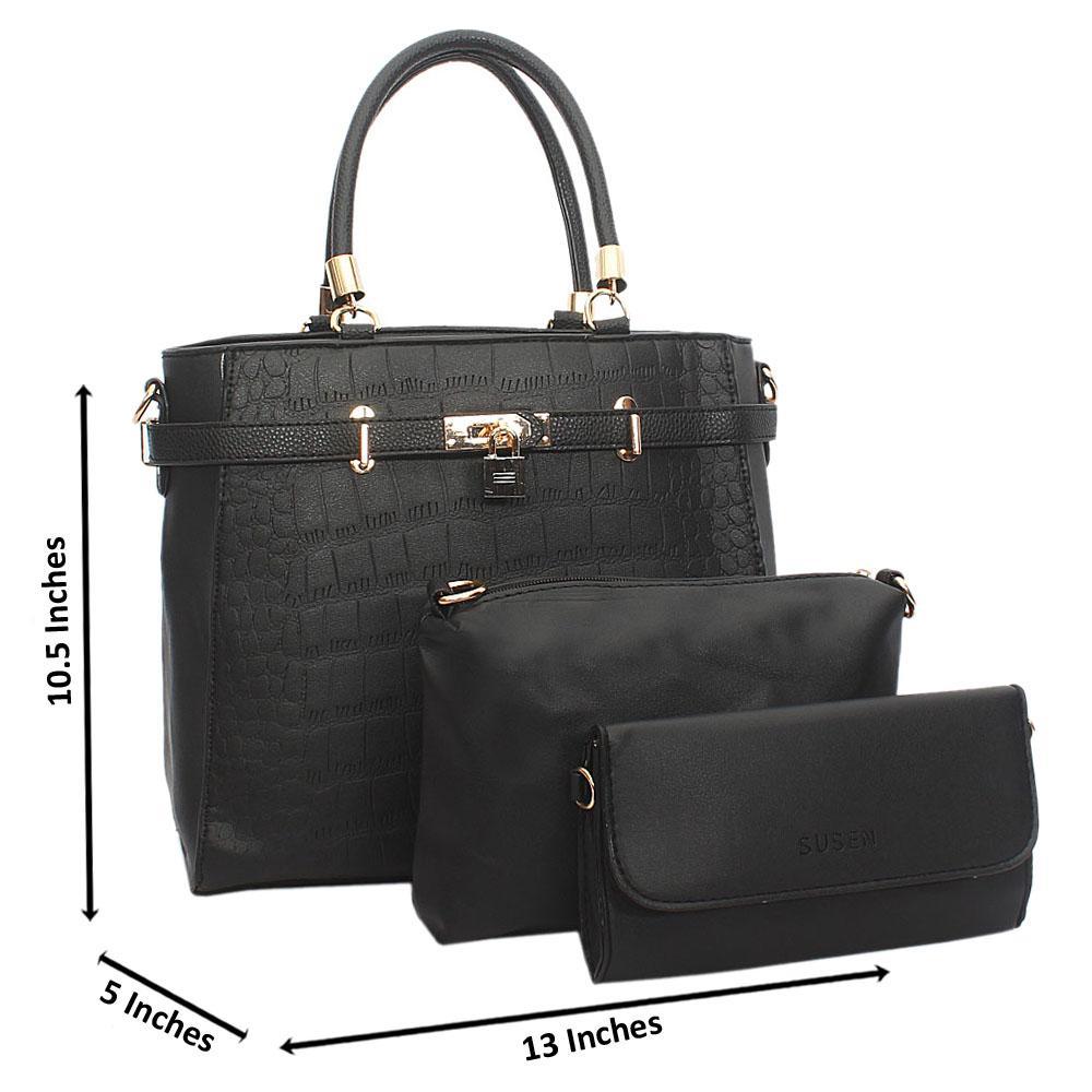 Black Croc Leather Birkin Tote Handbag