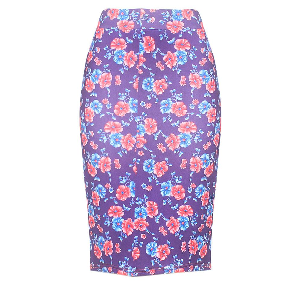 Purple Floral Print Cotton Stretch Skirt