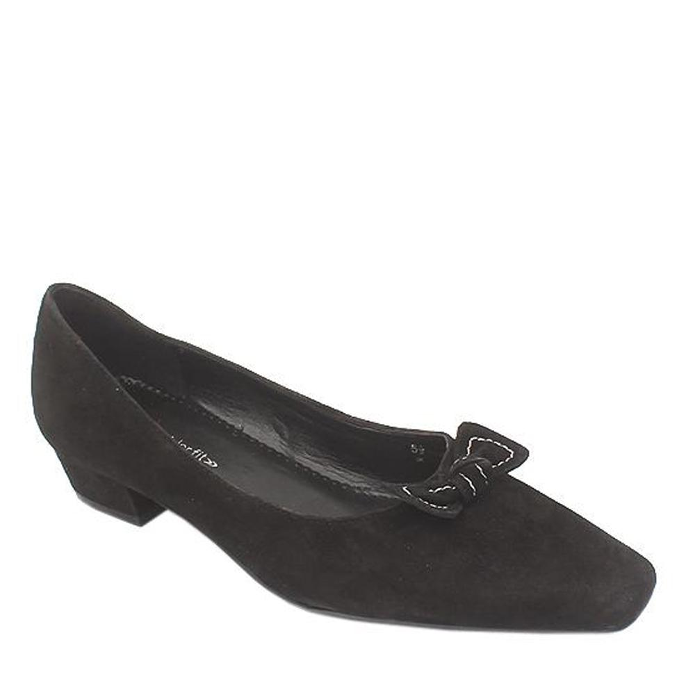 Mark & Spencer Black Suede Leather Wider Fit Ladies Heel Shoe