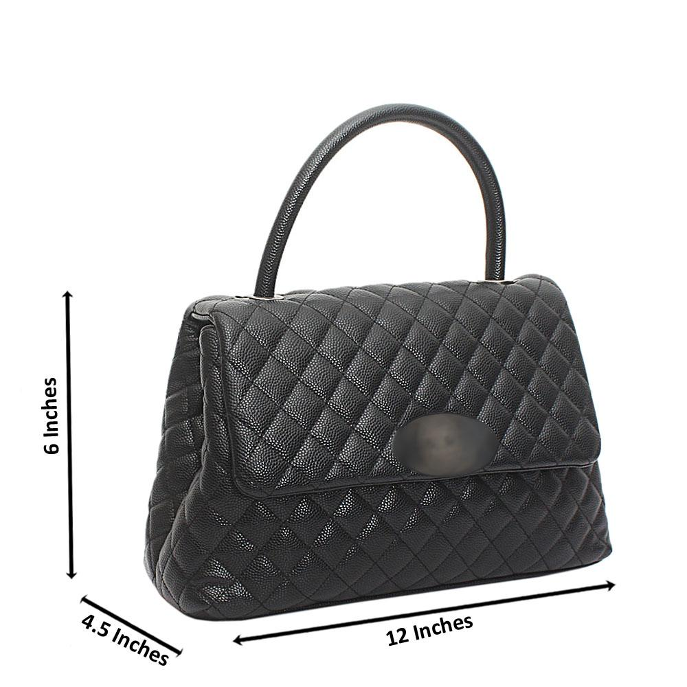 Black Lambskin Leather Flap Handbag