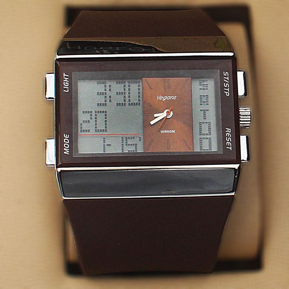 Vegans Brown Rubber 5 ATM Water Resistant Analog Digital Watch