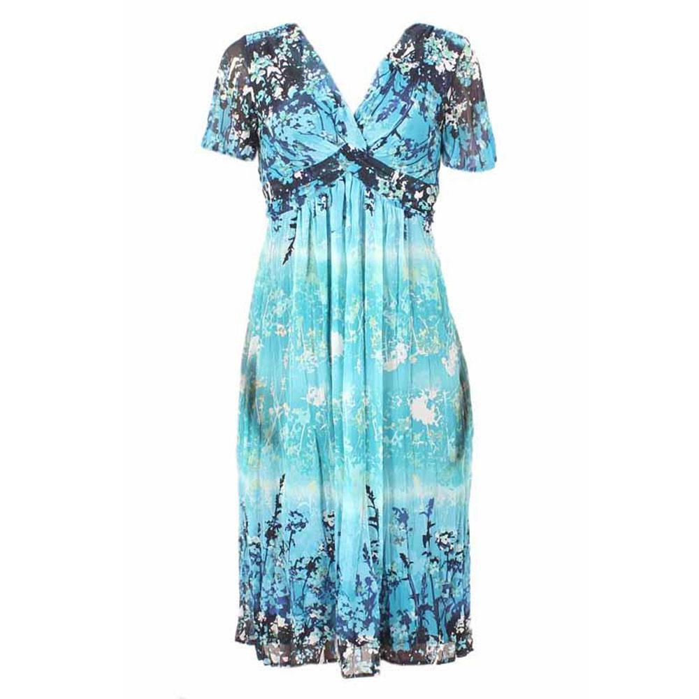 Per Una Blue Mix S/Sleeve Chiffon Dress