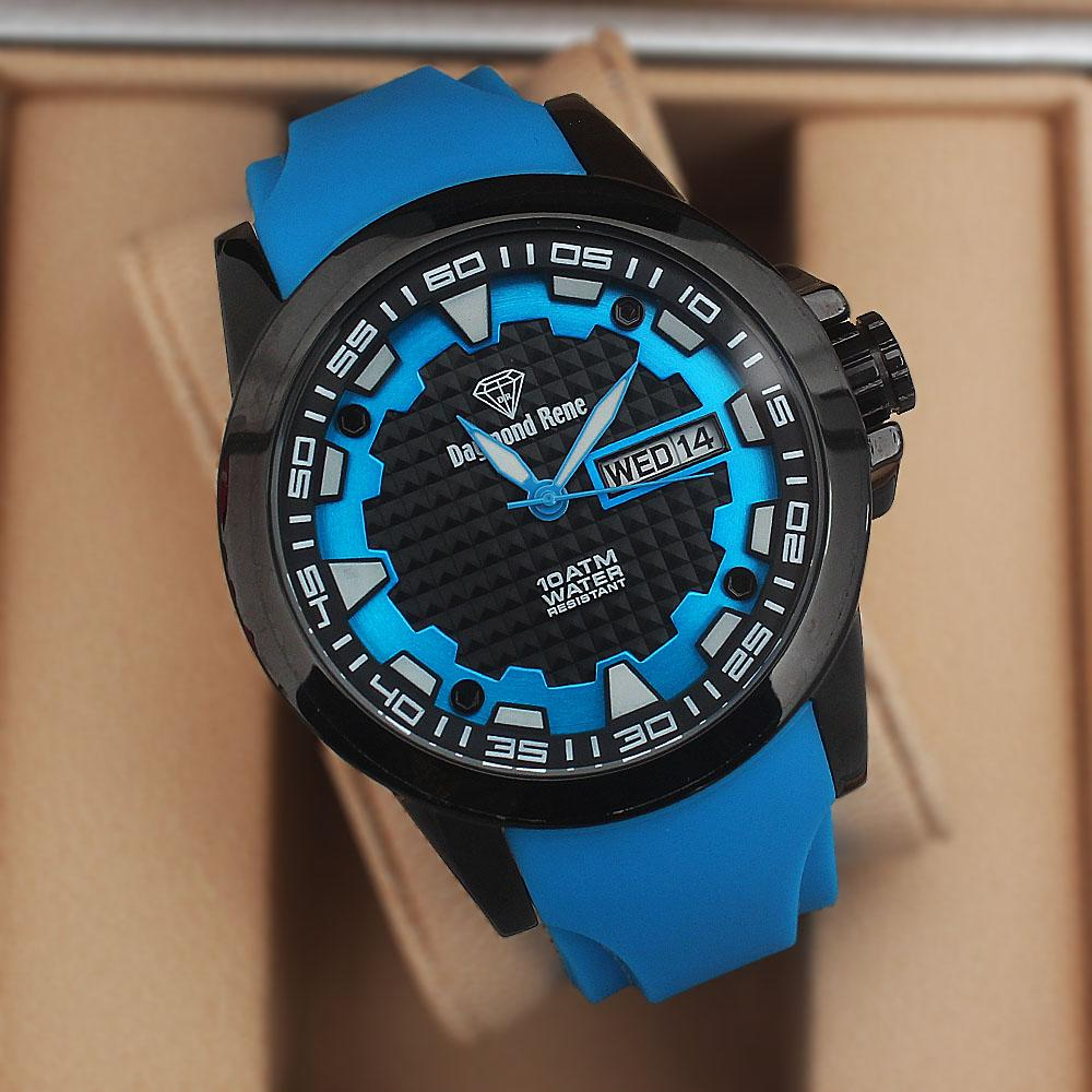 Daymond Rene 10ATM Water Resistant Blue Rubber Strap Watch