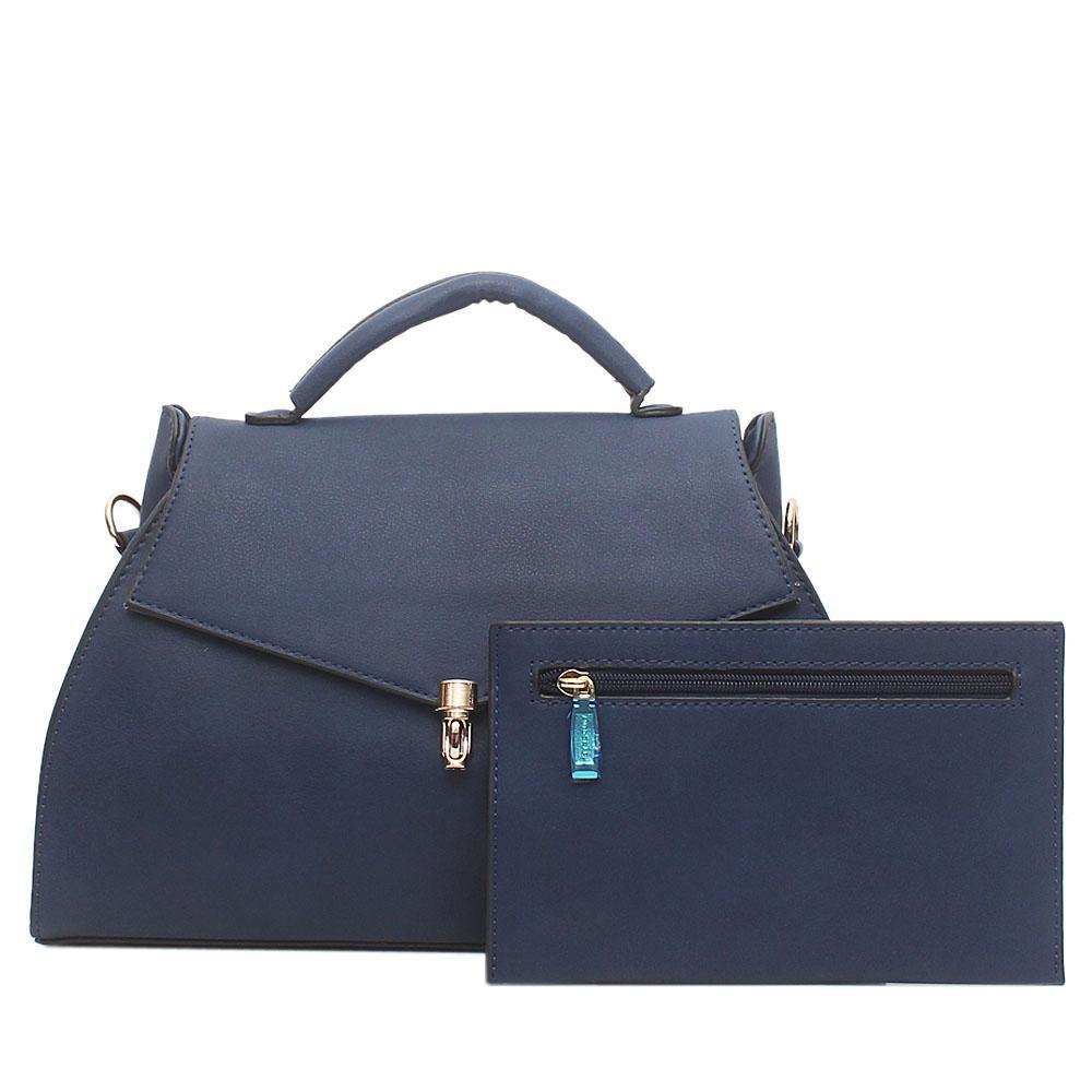 Autograph Island Navy Leather Single Handle Bag Wt Purse