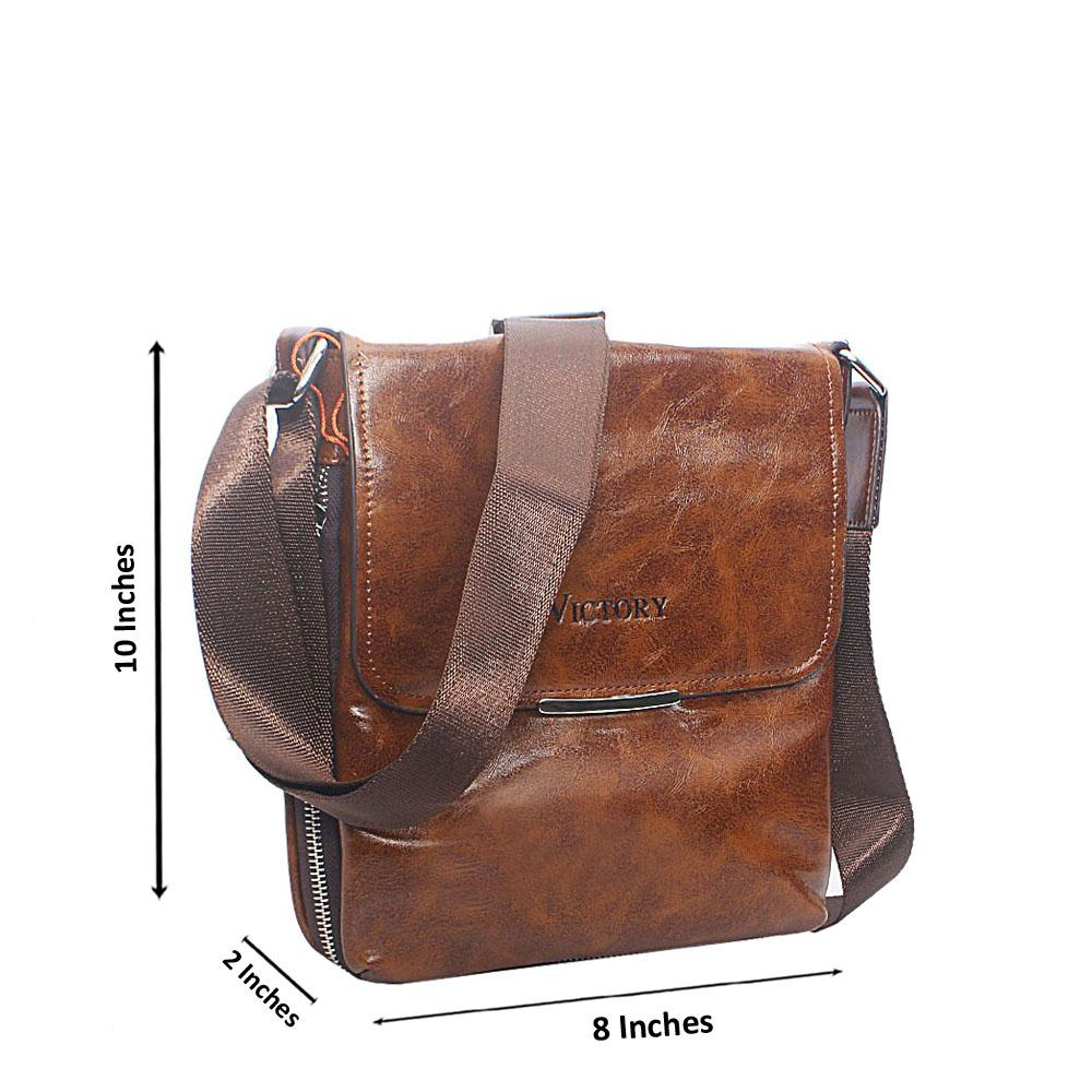 Brown Extended Zip Leather Vertical Messenger  Bag