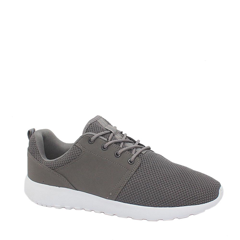M & S Gray Fabric Leather Men Sport Active Sneakers