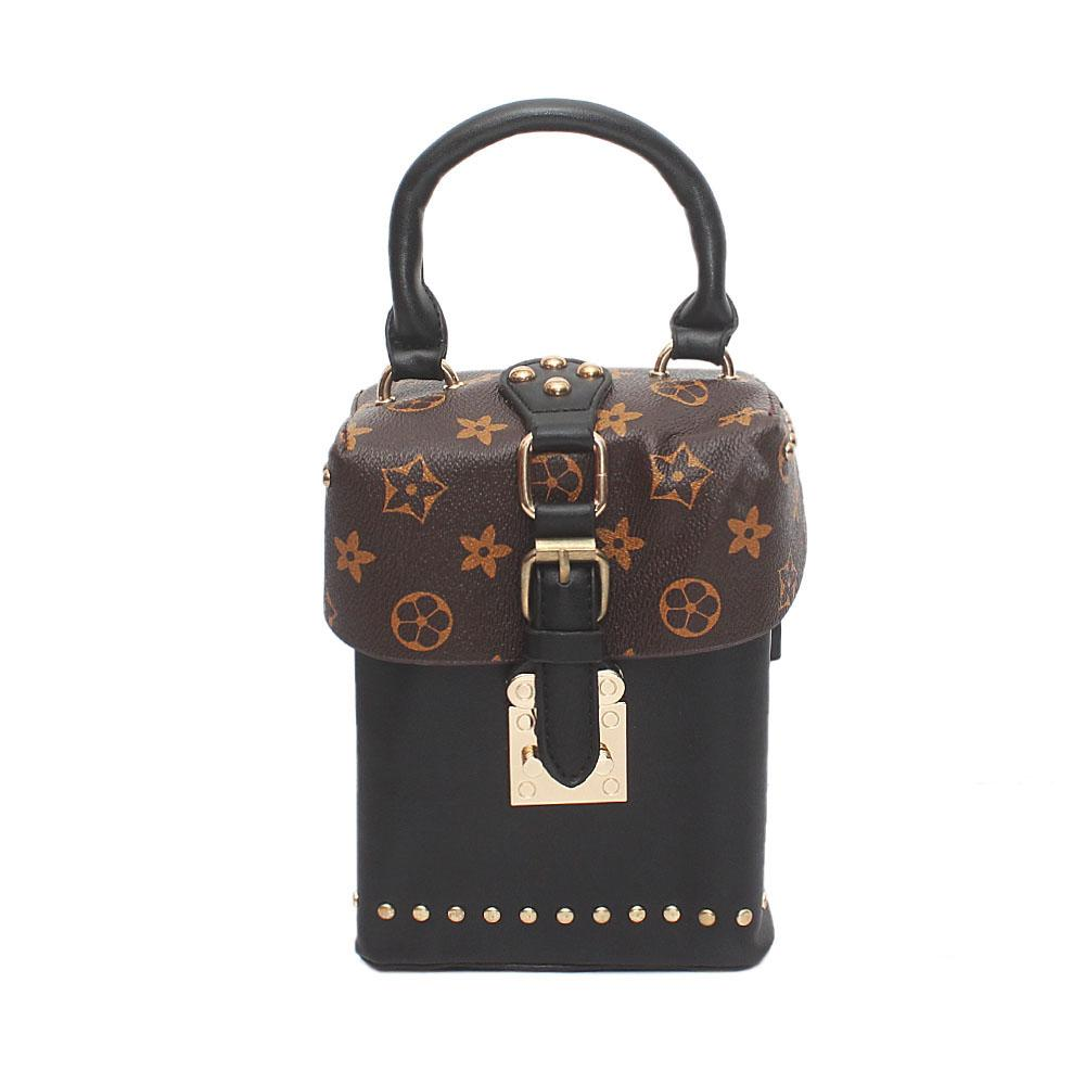 Reverse Brown Black Leather Small Bag