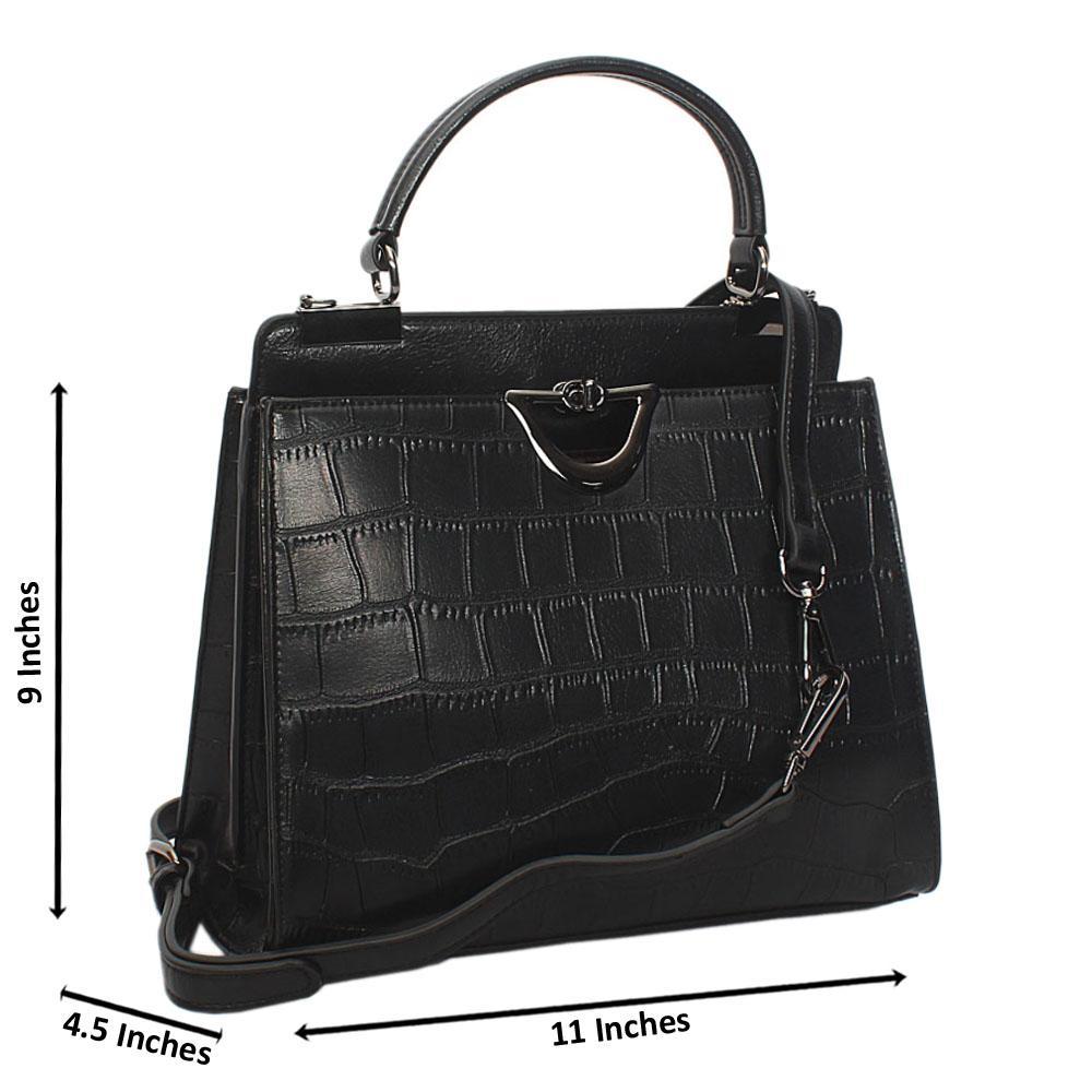 Black Croc Leather Small Top Handle Handbag