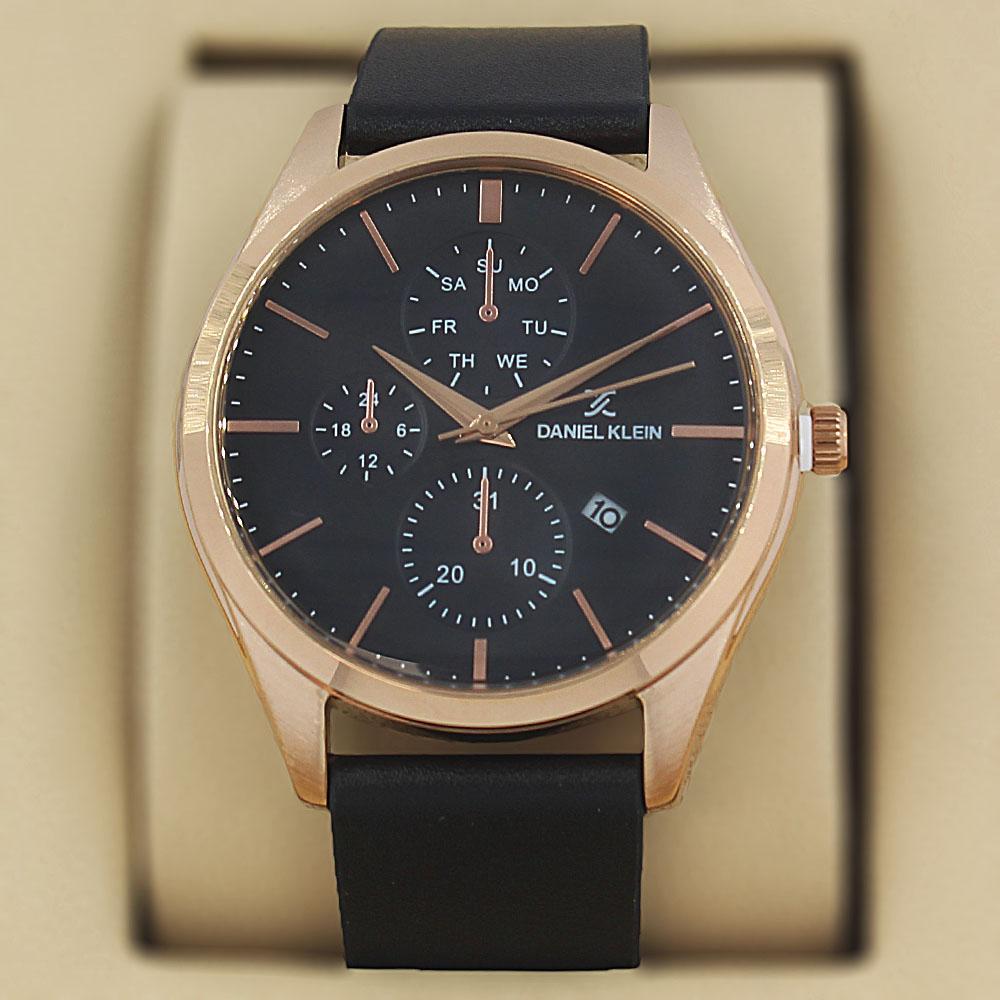 Daniel Klein Vintage Black Gold Steel Leather Pilot Series Watch