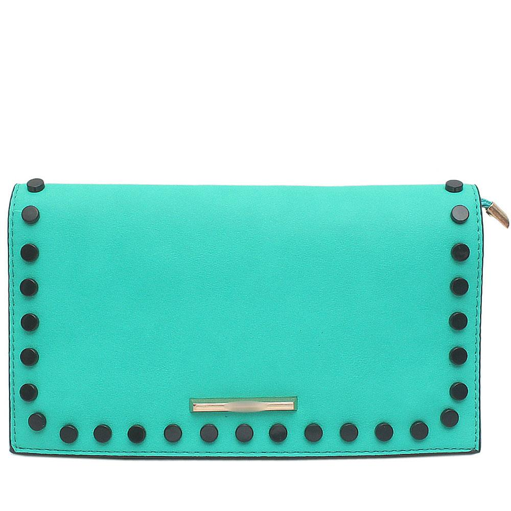 T.Green Studded Leather Flat Clutch