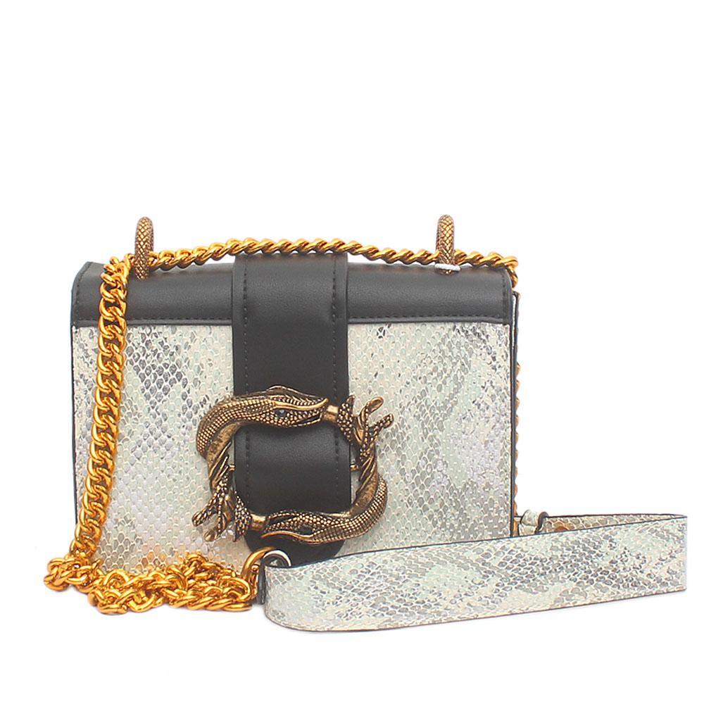 Silver Black Leather Mini Cahier Bag