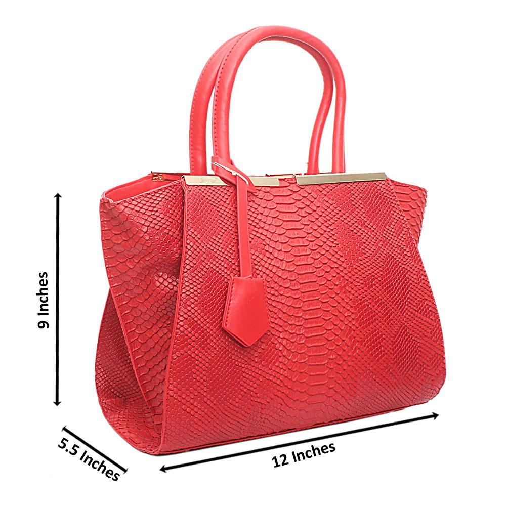 Red Leather Medium Animal Skin Handbag