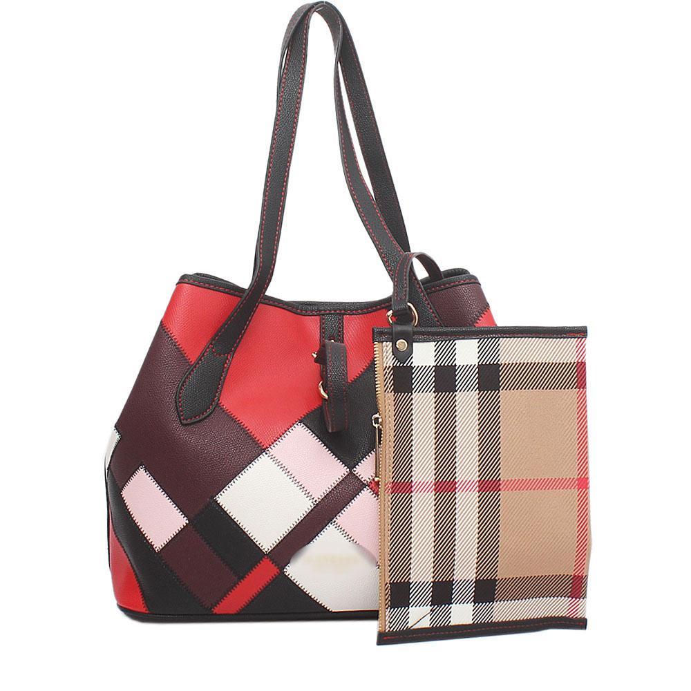 Multicolour Saffiano Leather Tote Bag Wt Purse