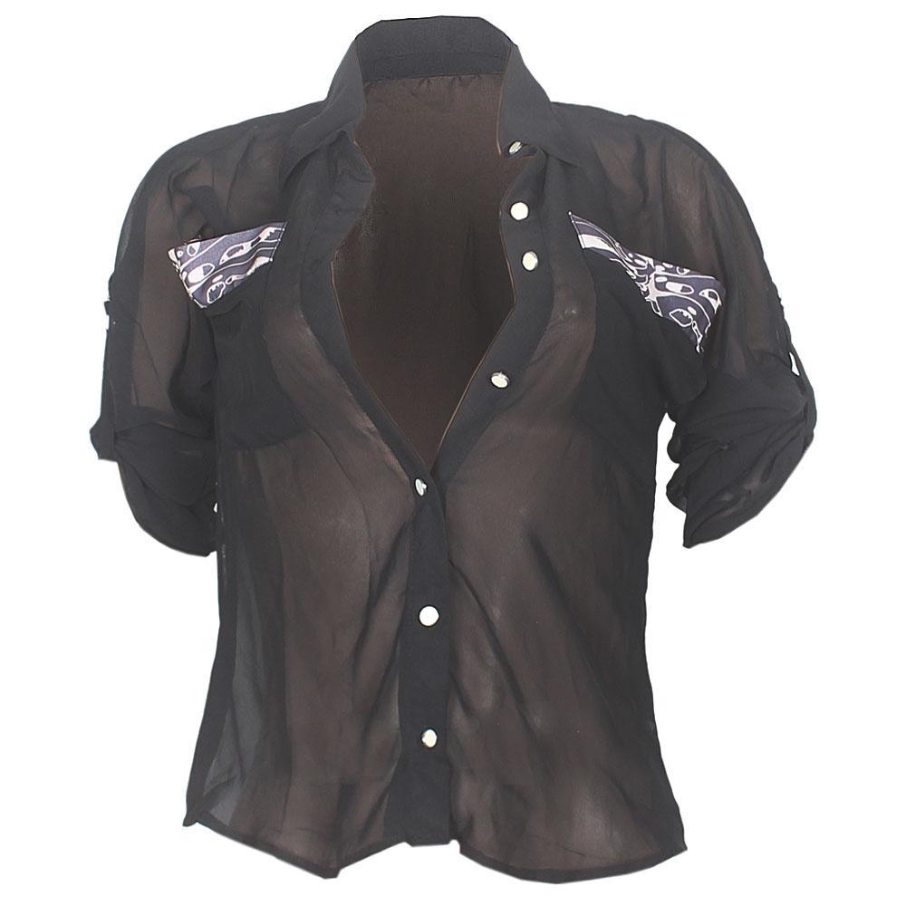 Love J Black L/Sleeve Ladies Chiffon Shirt Top